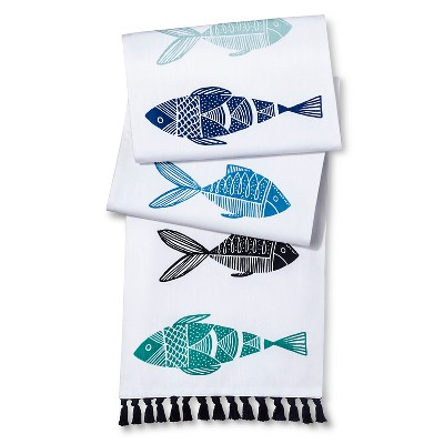 Threshold™ Fish Table Runner with Tassels - Blue