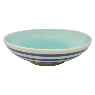 Stoneware Footed Bowl Blue Stripe - Threshold™