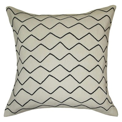 Zig Zag Embroidered Pillow White/Black - Threshold™