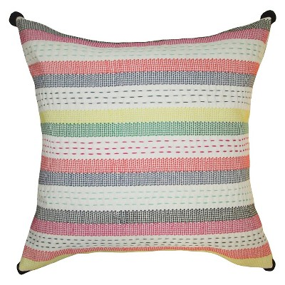 "Embroidered Striped Pillow 18""X18"" - Multicolor - Threshold™"