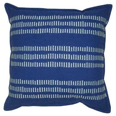 "Stripes Print & Embroidery Pillow Blue 18""x18"" - Threshold™"