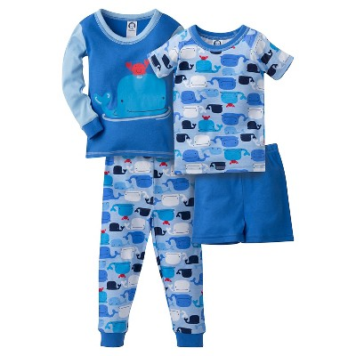 Gerber® Baby Boys' Whale 4-Piece Pajama Set Blue 12M