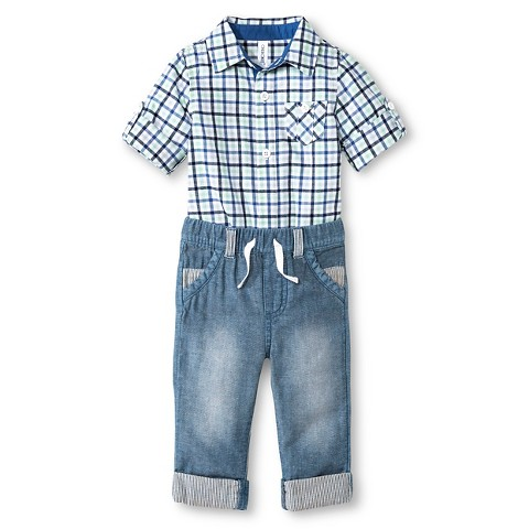 Cherokee Baby Boys Plaid Bodysuit & Denim Pant Tar
