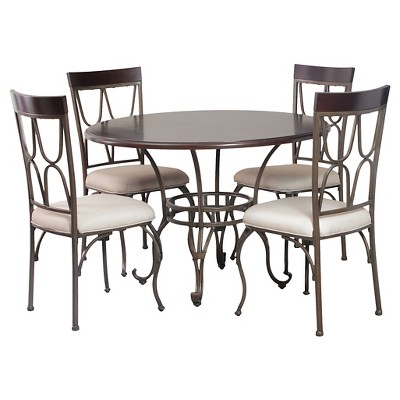 Piece Coleman Round Dining Table Set Metal Bronze Powell Company