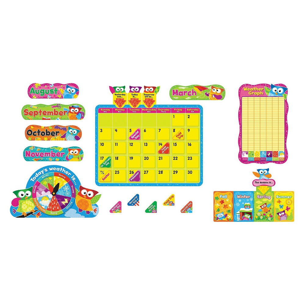 Trend Owl-Stars Calendar Bulletin Board, 17 1/2 x 23 1/4, 100 pieces, Multi-Colored
