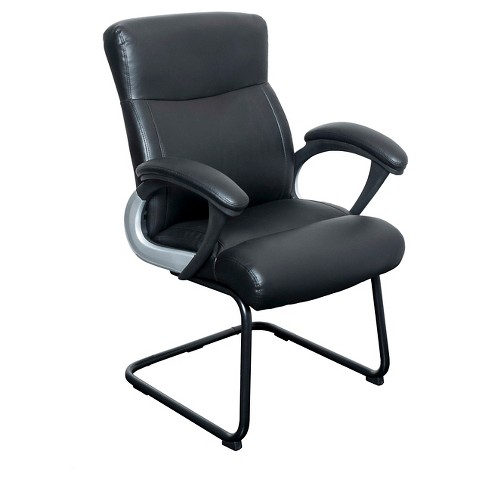 workspace leatherette office guest chair black corliving product