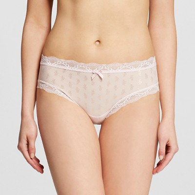 Women's Mesh Lace Trim Hipster Panty Crystal Pink L - Gilligan & O'Malley™