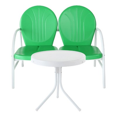 Crosley Griffith 2 Piece Metal Outdoor Loveseat and Table Set - Grasshopper Green