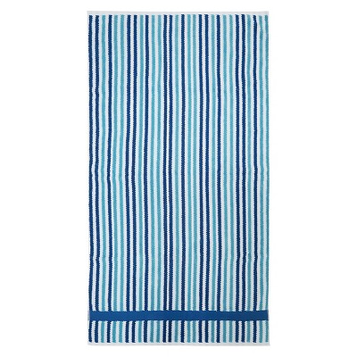 Cool Striped Bath Towel Blue - Pillowfort™