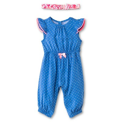 Cherokee® Baby Girls' Dot Romper & Floral Headwrap Set - Blue Dot/Multi Floral 3-6 M