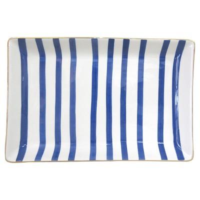 Stoneware Tray Blue Stripe - Threshold™