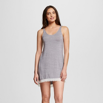 Women's Sleepwear Knit Chemise with Lace Trim Gray L - Gilligan & O'Malley®