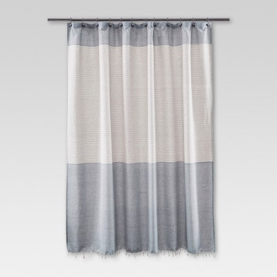 Threshold™ Shower Curtain - Stripe Blue Fringe
