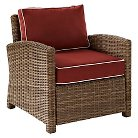 Crosley Bradenton Outdoor Wicker Arm Chair with Sangria Cushions