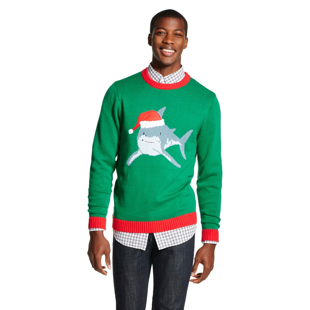 upc 789050699777 product image for mens santa shark ugly christmas sweater green 33 degrees m - Shark Christmas Sweater