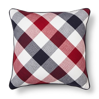 Americana Gingham Throw Pillow Blue/Red - Threshold™