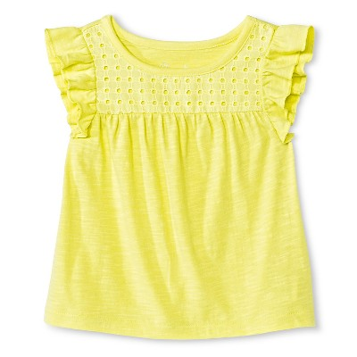 Baby Girls Flutter Sleeve Eyelet Tee Yellow 12M - Cherokee®