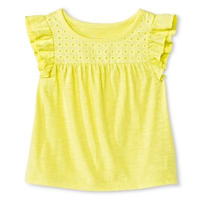 Baby Girls Flutter Sleeve Eyelet Tee Yellow 18M - Cherokee®
