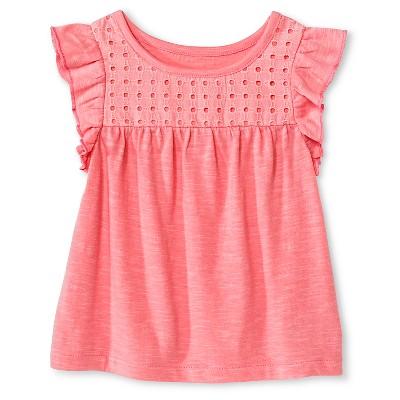 Baby Girls Flutter Sleeve Eyelet Tee Pink 18M - Cherokee®
