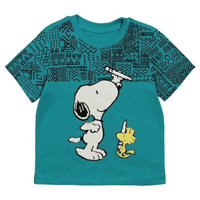 Male Tee Shirts Snoopy Teal Nights 3T