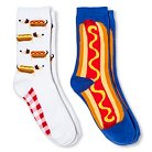 Davco Women's 2-Pack Fun Socks Hot Dogs/Big Hot Dog - White One Size