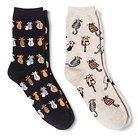 Davco Women's 2-Pack Fun Socks Oatmeal Kitties/Black Pounce - Multi-Colored One Size