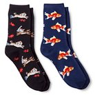 Davco Women's 2-Pack Fun Socks Swimming Cats/Goldfish - Multi-Colored One Size