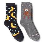 Davco Women's 2-Pack Fun Socks Monkey/Banana Dot Heather One Size