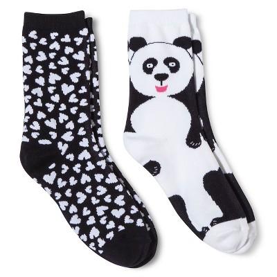 Davco Women's 2-Pack Fun Socks Big Panda/All Over Hearts - Black One Size