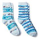 Davco Women's 2-Pack Fun Socks Swimmers/Sharks - Turquoise/Aqua One Size