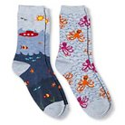 Davco Women's 2-Pack Fun Socks Octopus/Denim Underwater World - Lite Blue One Size