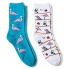 Davco Women's 2-Pack Fun Socks Flamingoes/Beach Stuff - Turquoise One Size
