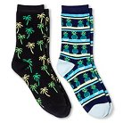 Davco Women's 2-Pack Fun Socks Pineapple Stripes/Palm Tree - Black One Size