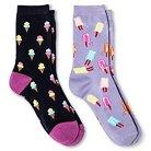 Davco Women's 2-Pack Fun Socks Kool Pops/Ice Cream Cones - Purple Mist One Size
