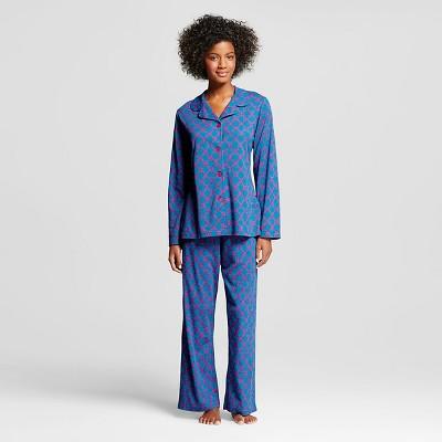 BHPJ by Bedhead Pajamas Women's Notch Collar Pajama Set - Jewel Tone Teal Geo Prism L