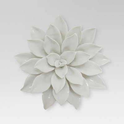 "Porcelain Flower Wall Décor 8"" -White"