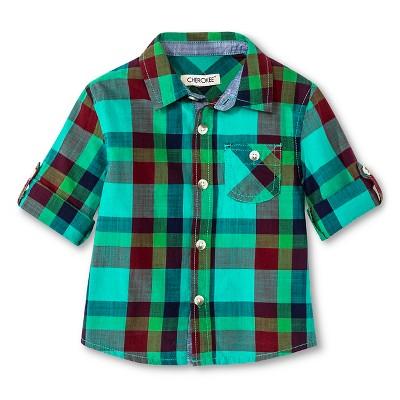 Baby Boys' Button Down Shirt - Green 12M - Cherokee®