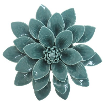 "Porcelain Flower Wall Décor 8"" -Aqua"
