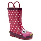 Toddler Girls' Opal Owl Polka Dot Rain Boots - Fuchsia