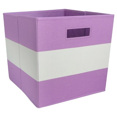 Fabric Cube Storage Bin Purple Stripe - Pillowfort™