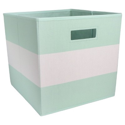 Fabric Cube Storage Bin Pillowfort Mint Stripe