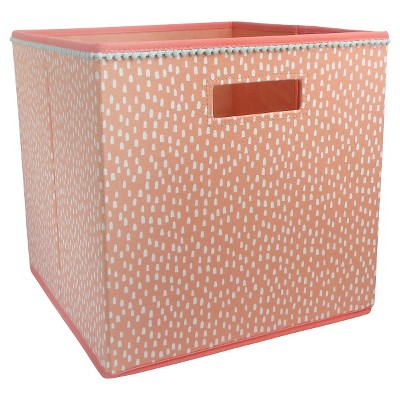 Fabric Cube Storage Bin Coral Dots - Pillowfort™