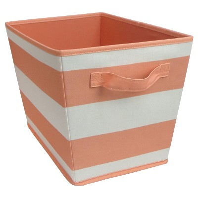 Striped Fabric Bin Large Coral - Pillowfort™