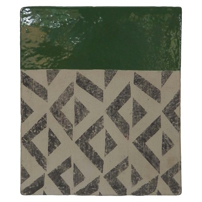 Decorative Sculpture Threshold Green White Black Terra Cotta
