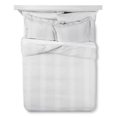 Yarn Dye Stripe Comforter & Sham Set (Queen) Silver&White 3pc - Fieldcrest™