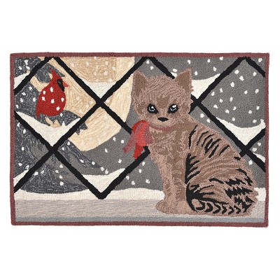 "Liora Manne Kitty Cat Indoor/Outdoor Accent Rug - Grey (24""X36"")"