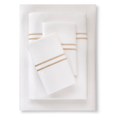 Supima Satin-Stitch Hotel Sheet Set 300 Thread Count (Queen) Sea Salt - Fieldcrest™