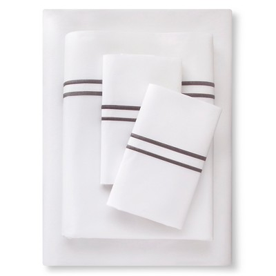 Supima Satin-Stitch Hotel Sheet Set 300 Thread Count (Full) Skyline Gray - Fieldcrest™