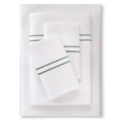 Supima Satin-Stitch Hotel Sheet Set 300 Thread Count (King) Aqua Spill - Fieldcrest™