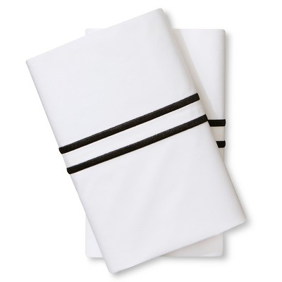 Supima Satin-Stitch Hotel Pillowcase Set 300 Thread Count (King) Ebony - Fieldcrest™